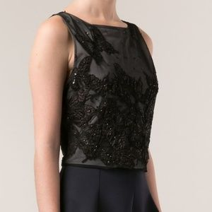 Alice and Olivia embroidered butterfly crop top
